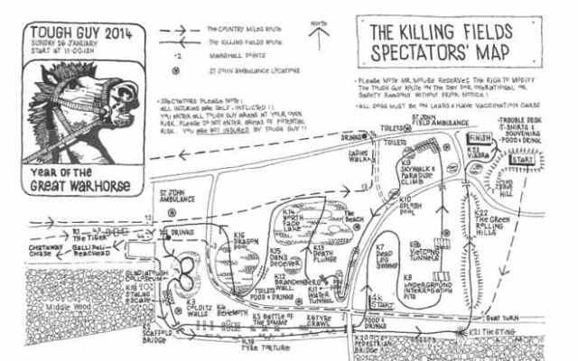 Tough Guy, Streckenplan, 2014, Hindernislauf, Killing Fields, England, Wolverhampton, Großbritannien